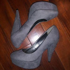Forever 21 Grey Suede Platform Heels